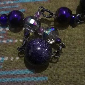 handmade Jewelry - Crystal glass and blue goldstone bead necklace